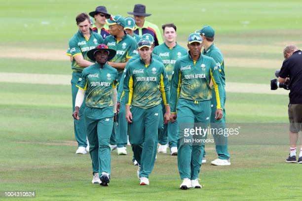 The South Africa squad leave the field after winning the game during the 1st ODI between England U19 and South Africa U19 at Emirates Riverside on...
