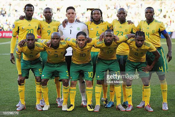 The South Africa team line up for a group photo before the 2010 FIFA World Cup South Africa Group A match between France and South Africa at the Free...