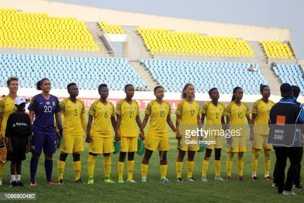 The South Africa team line up prior to the 2018 TOTAL African Womens Cup of Nations match between South Africa and Nigeria on November 18 2018 in...