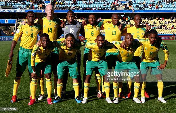 The South Africa team pose before the FIFA Confederations Cup 3rd Place Playoff between Spain and South Africa at the Royal Bafokeng Stadium on June...
