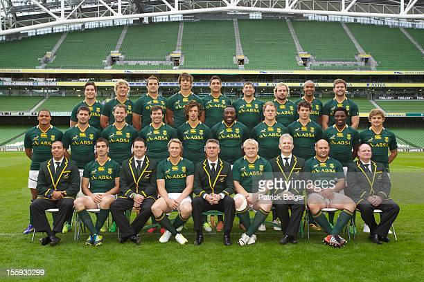 The South Africa team pose for a group photograph during a South Africa captain's run at AVIVA Stadium on November 9 2012 in Dublin Ireland