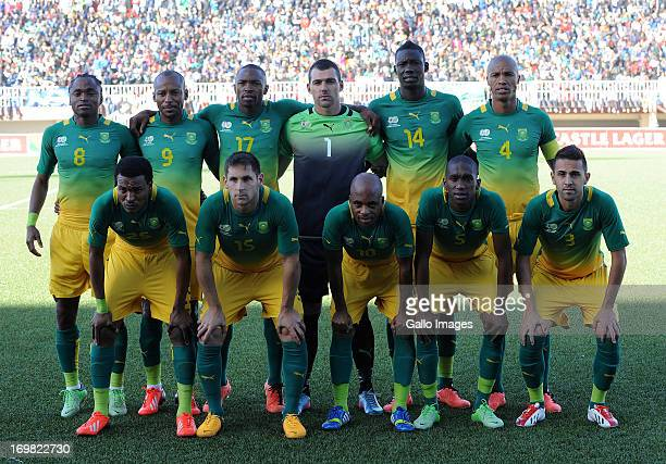 The South Africa team psoe during the International Friendly match between Lesotho and South Africa at Maseru National Stadium on June 02 2013 in...