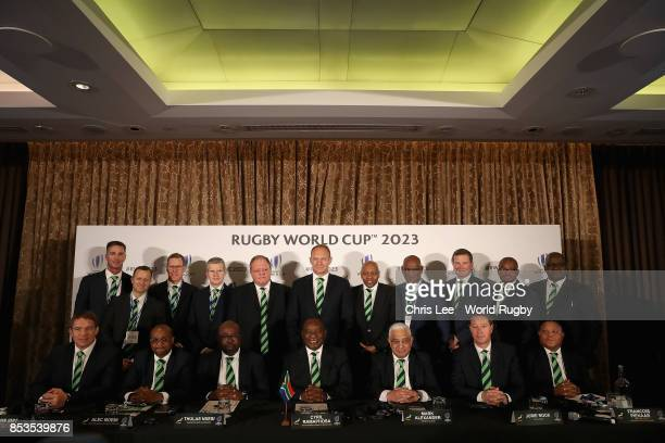 The South Africa World Cup 2023 bidding party during the Rugby World Cup 2023 Bid Presentations event at Royal Garden Hotel on September 25 2017 in...