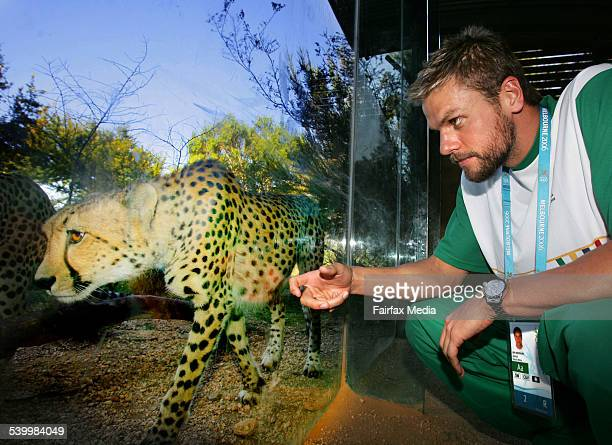 The South African Commonwealth Games team was entertained at Werribee Open Range Zoo today Swimmer Ryk Neethling watches as the cheetahs are fed 12th...