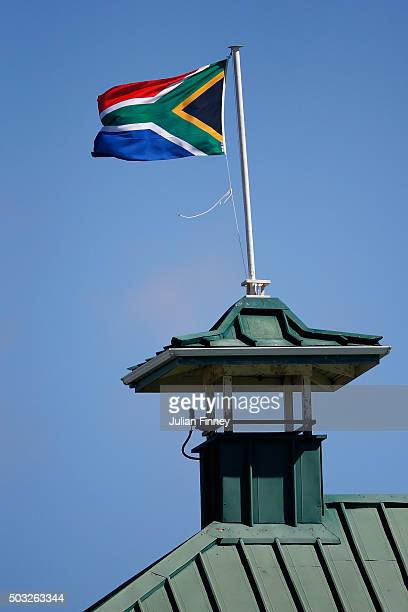 The South African flag is seen during day two of the 2nd Test at Newlands Stadium on January 3 2016 in Cape Town South Africa