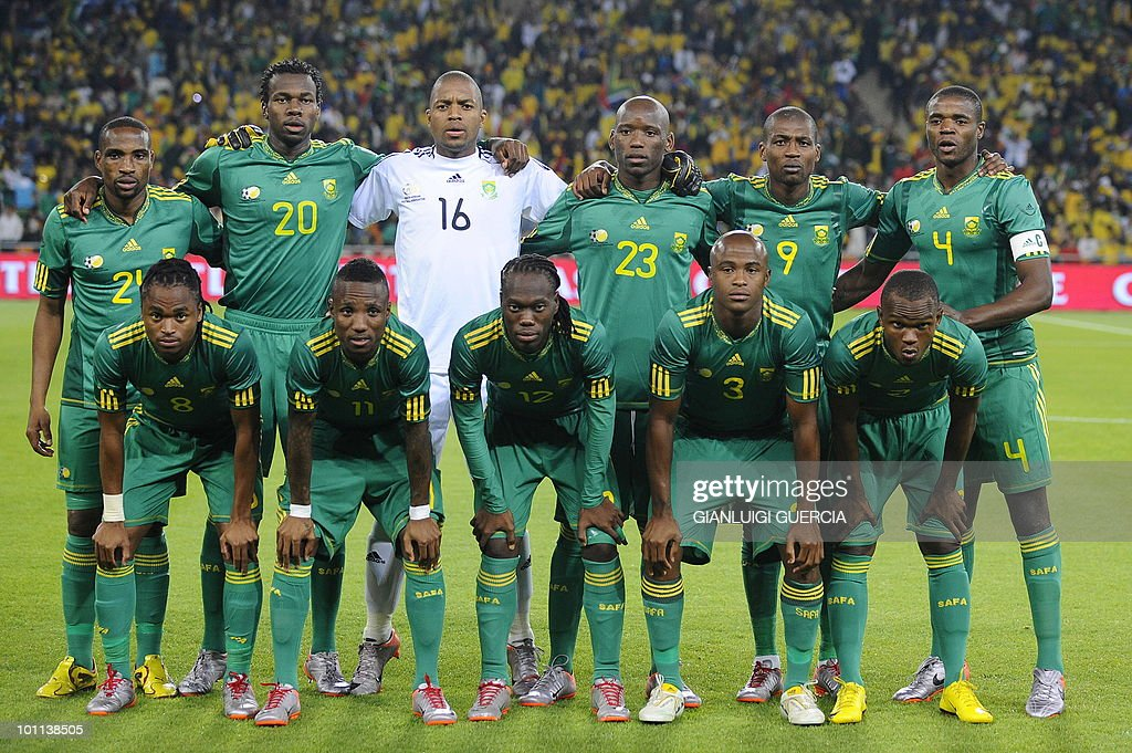 The South African Football National team pose for a team picture ahead of the international friendly football match between South Africa and Colombia at Soccer City stadium in Soweto, Johannesburg on May 27, 2010. The 2010 FIFA World Cup football championship is due to take place in South Africa from June 11 to July 11 of 2010.