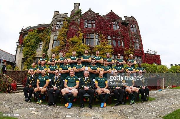 The South African national rugby team pose for an official team photograph at Pennyhill Park on October 16, 2015 in London, England.