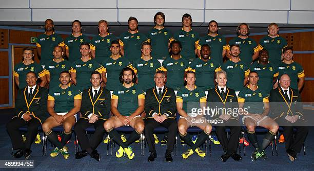 The South African national rugby union team players pose during the South African national rugby team official photograph at Regency Hyatt Birmingham...