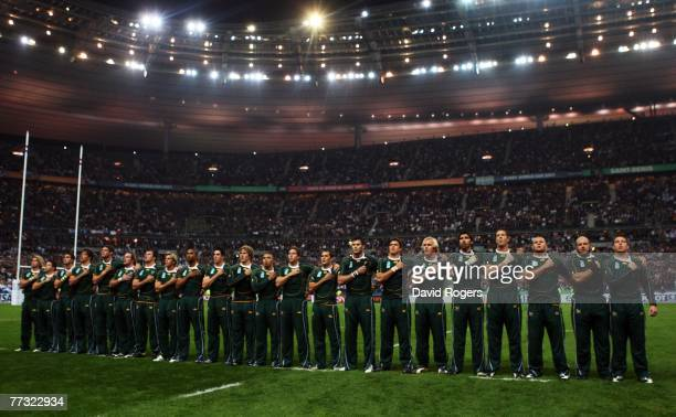 The South African players line up for the national anthem during the Rugby Word Cup Semi Final between South Africa and Argentina at the Stade de...