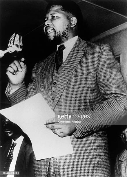 The South African political leader Nelson MANDELA giving a speech before the African Congress He was sentenced to a prison life penalty in 1964...