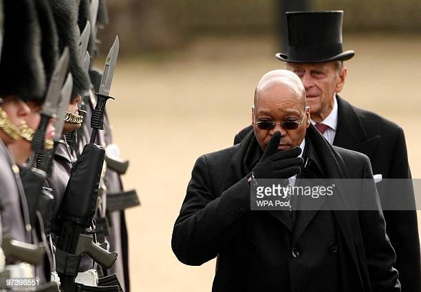 The South African President Jacob Zuma and Prince Philip, the Duke of Edinburgh inspect the troops at the ceremonial welcome on Horseguards Parade,...