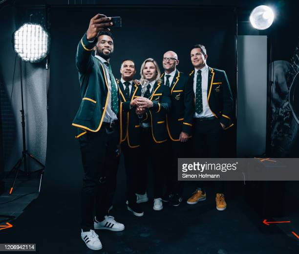 The South African Rugby Uinion team winners of the Laureus World Team of the Year South Africa Rugby Union Team poses at the Mercedes Benz Building...
