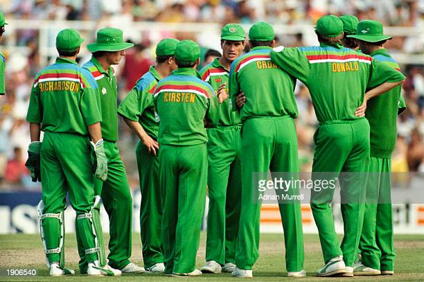 The South African team during the ICC Cricket World Cup match against Australia in Sydney Australia on the 26th of February 1992