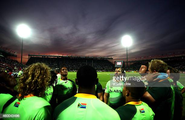 The South African team gather after beating New Zealand in the Cup semifinal during day two of the Emirates Dubai Sevens HSBC Sevens World Series at...
