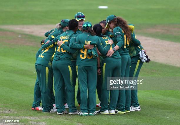 The South African team get in a huddle at the end of The Australian innings during The ICC Women's World Cup 2017 match between South Africa and...