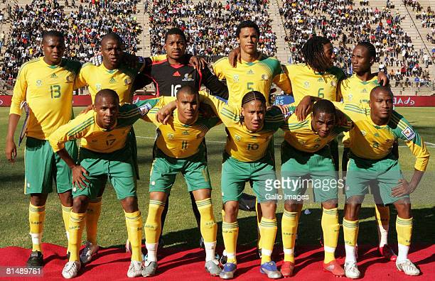 The South African team line up before the Africa Cup Of Nations and FIFA 2010 World Cup qualifying match between South Africa and Equatorial Guinea...