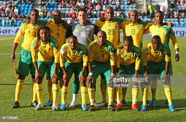 The South African team pose prior to the International friendly match between Norway and South Africa at the Ullevaal Stadion on October 10 2009 in...