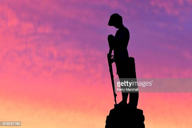 The South African War Memorial seen against the sunset during the Art Deco Festival on February 17 2018 in Napier New Zealand This monument was...