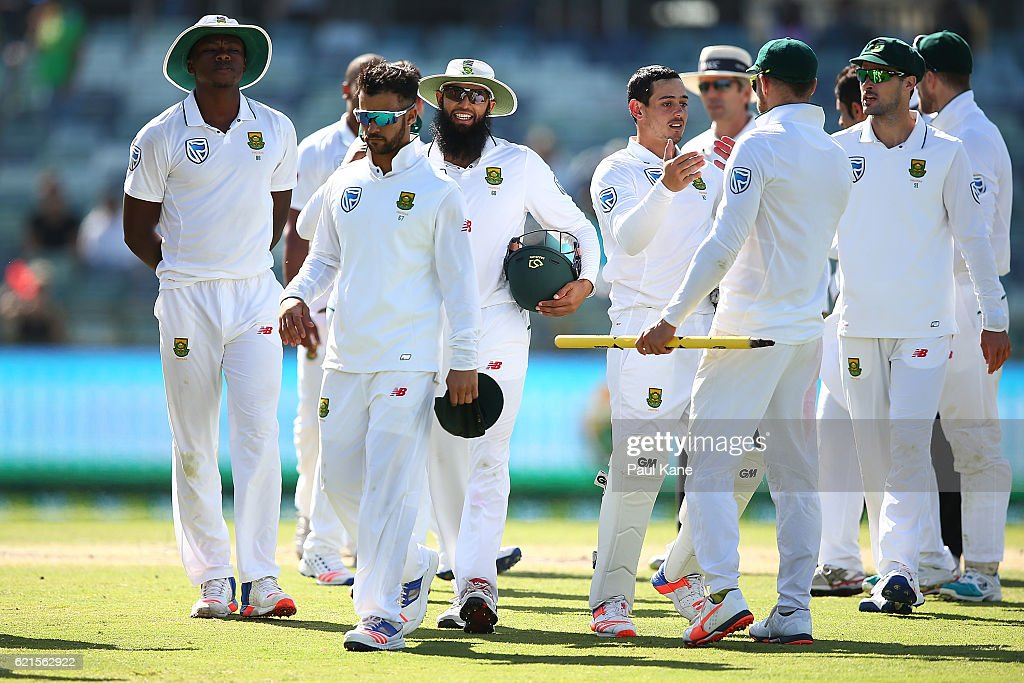 The South Africans walk from the field after defeating Australia during day five of the First Test match between Australia and South Africa at the WACA on November 7, 2016 in Perth, Australia.