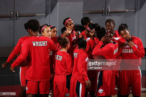 The South Alabama Jaguars huddle before the game against the Detroit Titans at The Matadome on November 24 2012 in Northridge California South...