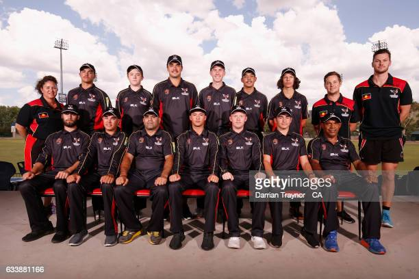 The South Australia Mens team pose for photo before the National Indigenous Cricket Championships start on February 6 2017 in Alice Springs Australia