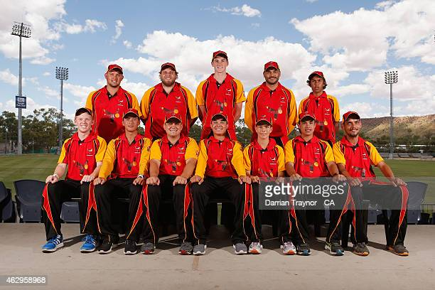 The South Australian team pose for a team before during the 20415 Imparja Cup on February 8 2015 in Alice Springs Australia
