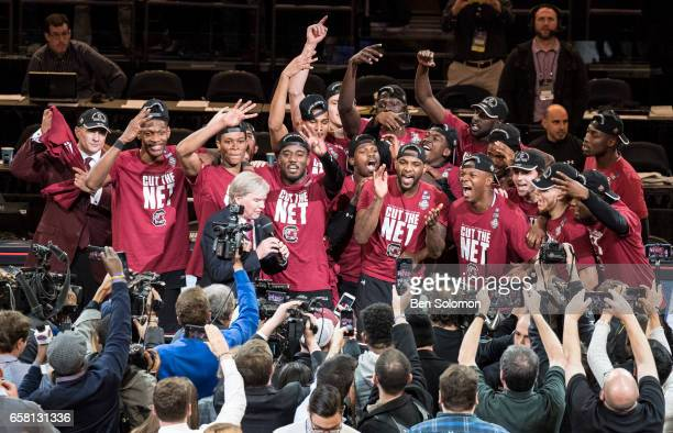 The South Carolina Gamecocks after winning against the Florida Gators during the 2017 NCAA Men's Basketball Tournament held at Madison Square Garden...