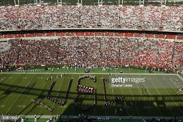 The South Carolina Gamecocks marching band performs before the team plays against the Georgia Bulldogs during their game at WilliamsBrice Stadium on...