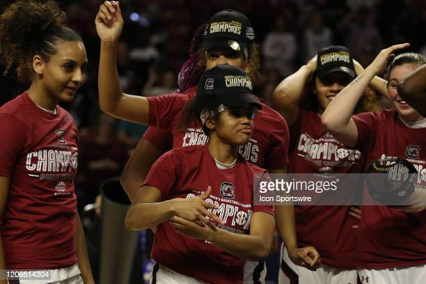 The South Carolina team celebrates the victory during the SEC Championship Women's college basketball game between the Mississippi State Bulldogs and...