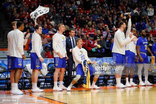 The South Dakota State Jackrabbits bench reacts in the first half against the Ohio State Buckeyes during the first round of the 2018 NCAA Men's...