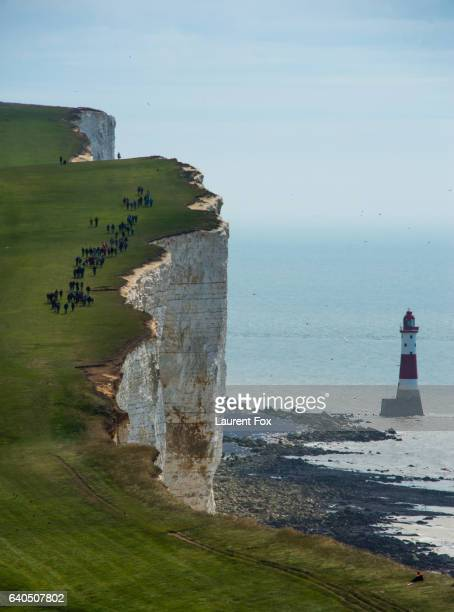 The South Downs Way at Beachy Head, on the Seven Sisters cliffs, South Downs National Park