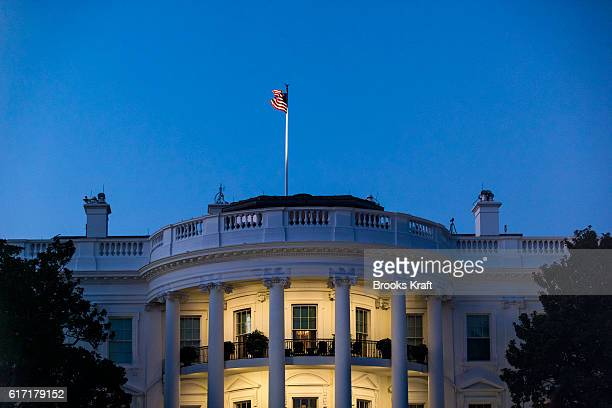 The south facade of the White House at dusk including the Truman Balcony October 3 2016 in Washington DC