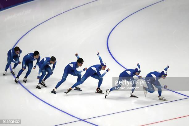 The South Korea Men's Short Track Speed Skating team train during previews ahead of the PyeongChang 2018 Winter Olympic Games at Gangneung Ice Arena...