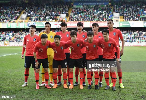 The South Korea starting XI pose for a team photograph before the international friendly match between Northern Ireland and South Korea at Windsor...