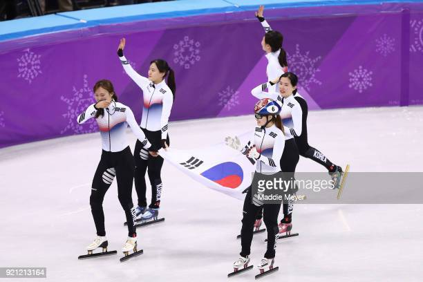 The South Korea team celebrate winning the gold medal following the Ladies Short Track Speed Skating 3000m Relay Final A on day eleven of the...