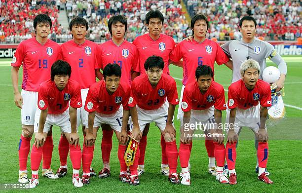 The South Korea team line up during the FIFA World Cup Germany 2006 Group G match between South Korea and Togo at the Stadium Frankfurt on June 13...