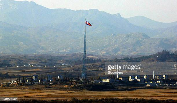 The South Korean Army's observation post in the Demilitarized Zone offers a view of North Korea's propaganda village in Paju South Korea on Wednesday...