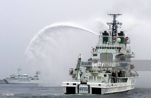 The South Korean coast guard participate in an exercise of the North Pacific Coast Guard Forum on June 8 2006 in Busan South Korea Coastguards from...