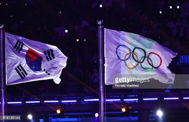 The South Korean flag and the Olympic rings flag during the Opening Ceremony of the PyeongChang 2018 Winter Olympic Games at PyeongChang Olympic...