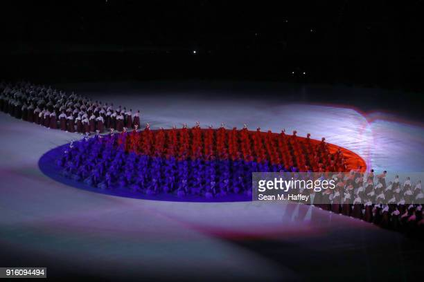 The South Korean flag 'Taegeukgi' is seen during the Opening Ceremony of the PyeongChang 2018 Winter Olympic Games at PyeongChang Olympic Stadium on...