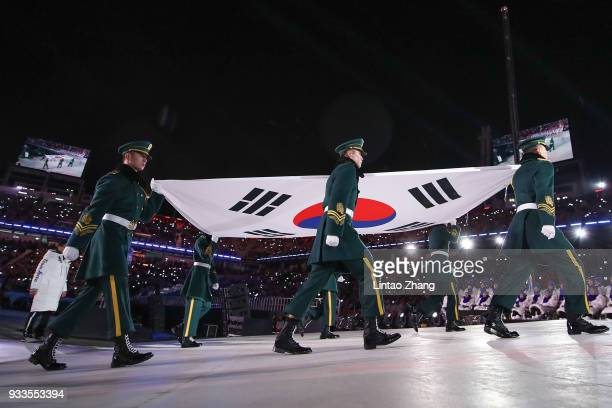 The South Korean national flag is to be hoisted during the closing ceremony of the Pyeongchang 2018 Winter Paralympic Games at the Pyeongchang...