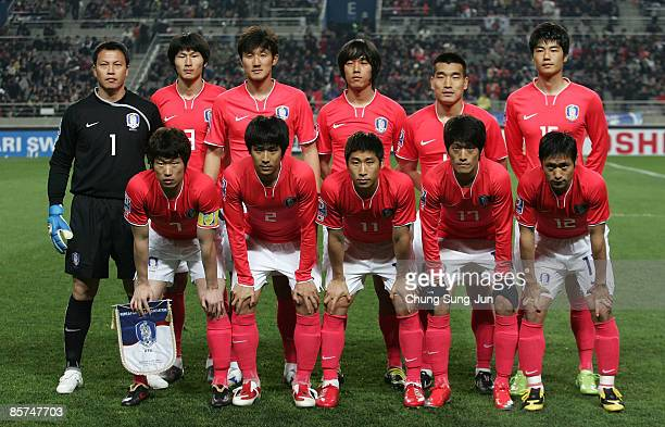 The South Korean national football team line up during the 2010 FIFA World Cup Asian Qualifying match between South Korea and North Korea at Seoul...
