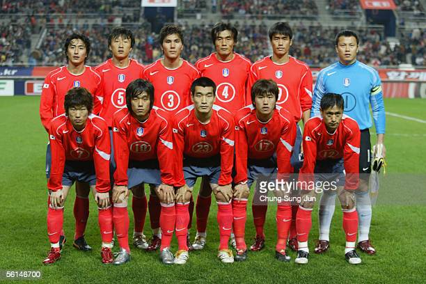 The South Korean team line up before the friendly match between South Korea and Sweden at the SangAm World Cup stadium on November 12 2005 in Seoul...