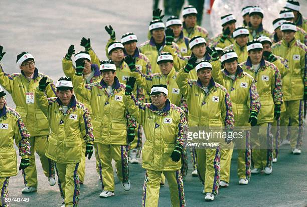 The South Korean team parading at the opening ceremony of the Winter Olympics at the Theatre des Ceremonies, Albertville, Canada, 8th February 1992.
