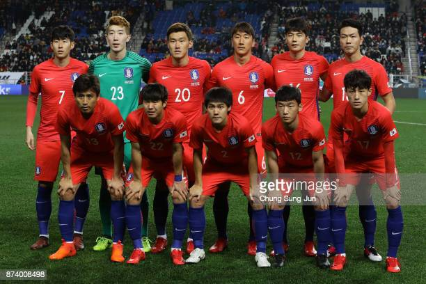 The South Korean team pose during the international friendly match between South Korea and Serbia at Ulsan World Cup Stadium on November 14 2017 in...