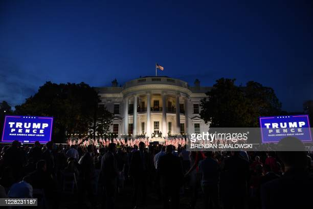 The South Lawn of the White House is pictured ahead of US President Donald Trump's acceptance speech for the Republican Party nomination for...
