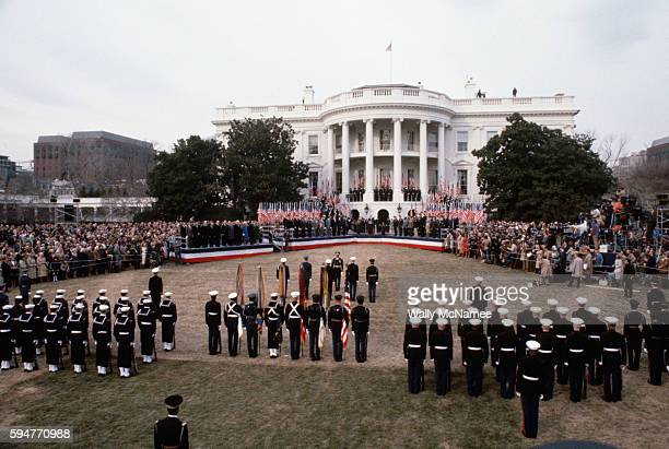 The South Lawn of the White House is set up for a full honors ceremony to welcome home the hostages who were held in Tehran through the last year of...