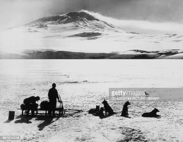 The South Pole expedition by Robert Falcon Scott the explorers before the Erebus volcano on Ross island January 15 20th century