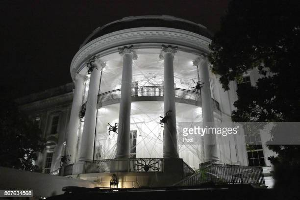 The South Portico of the White House is covered in decorations for Halloween October 28 2017 in Washington DC
