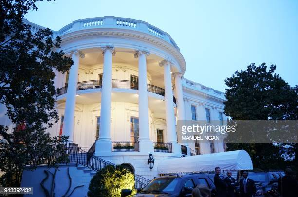 The South Portico of the White House is seen on April 7, 2018 in Washington, DC.